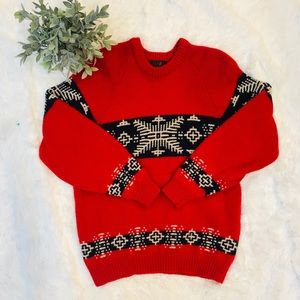 Hunting horn red wool sweater unisex